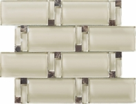Wave Glass and Stone Brick Mosaic Tile Beige JBAM4