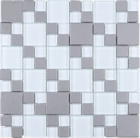 Soft White Mosaic Glass and Stainless Steel JBSS2
