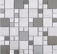 Wooden Grey Marble Mosaic Glass and Stainless Steel JBSS3