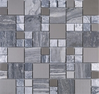 Bardiglio Grey Marble Mosaic Glass and Stainless Steel JBSS4