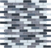 Grey Brick Glass Mosaic Tile JBCD1