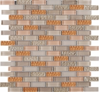 Beige and Orange Brick Glass Mosaic Tile JBCD5