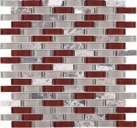 Cherry Grey Brick Glass Mosaic Tile JBCD6