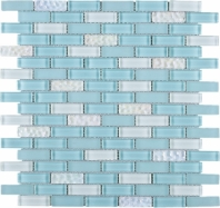 Baby Blue Brick Glass Mosaic Tile JBCD7
