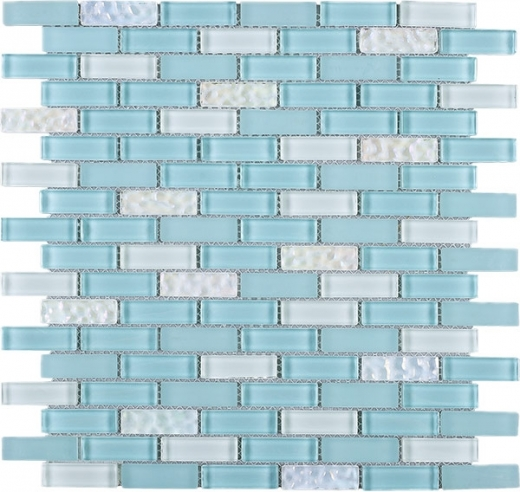 Baby Blue Brick Gl Mosaic Tile Jbcd7