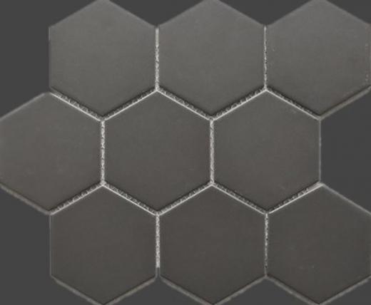 Hexagon Dark Grey Porcelain Mosaic Tile