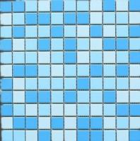 Square 1x1 Grid Porcelain Creamy Blue Mosaic Tile JBTPM19
