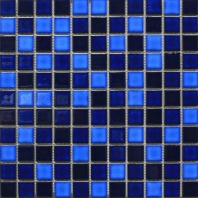 Square 1x1 Grid Porcelain Tropical Blue Night Mosaic Tile JBTPM2