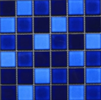 Square 2x2 Grid Porcelain Tropical Blue Night Mosaic Tile JBTPM22