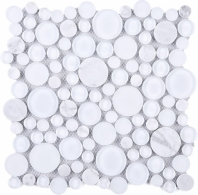 Carrara Round Glass and Stone Mosaic Tile JBUBW2