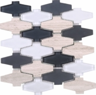 Beige and Black Glass and Stone Mosaic Tile JCDN2