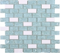 Crushed Green Brick Glass and White Marble Mosaic Tile JCES2