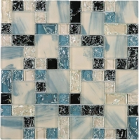 Crushed Ink Blue and White and Black Square Glass Mosaic Tile JCES4