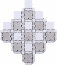 Light Grey Glass Flower White Carrara Mosaic Tile JDAIY1