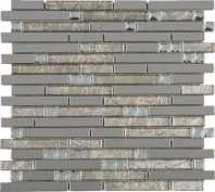 Stainless Steel Gold Interlocking Glass and Metal Crystal Mosaic Tile JDSS1