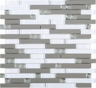 Stainless Steel White Interlocking Glass and Metal Crystal Mosaic Tile JDSS2