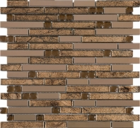 Bronze Galaxy Interlocking Glass and Metal Brown Crystal Mosaic Tile JDSS3