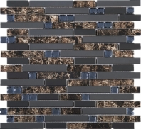 Stainless Steel Emperador Look Interlocking Glass and Metal Mosaic Tile JDSS5