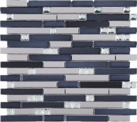 Stainless Steel Black Interlocking Metal White Crystal Glass Mosaic Tile JDSS6
