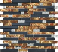 Copper Brown Interlocking Glass and Metal Mosaic Tile JDSS7