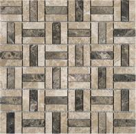 Maze Crema Marfil and Dark Emperador Square Stone Mosaic Tile JEMP3