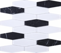 Black Marquina White Glass and Stone JFN3