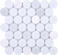 White Penny Round Glass Mosaic Tile JFUDO1