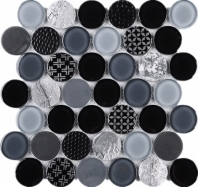 Black Penny Round Glass Mosaic Tile JFUDO2