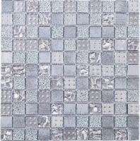 Silver Grid Square Glass Mosaic Tile JGEM1