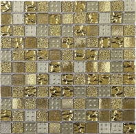 Gold Grid Square Glass Mosaic Tile JGEM2