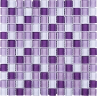 Purple Purple Grid Square Glass Mosaic Tile JGEM5