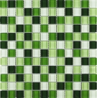 Green Green Grid Square Glass Mosaic Tile JGEM6