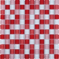 Maple Red Square Glass Grid Square Glass Mosaic Tile JGEM7