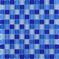 Blue Grid Square Glass Mosaic Tile JGEM8