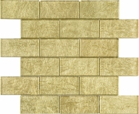 Gold Foil Brick Glass Mosaic Tile JGK1