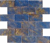 Blue Foil Brick Glass Mosaic Tile JGK2