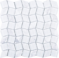 Geometry Diamond Shape White Carrara and White Glass Mosaic Tile Polished JGY1