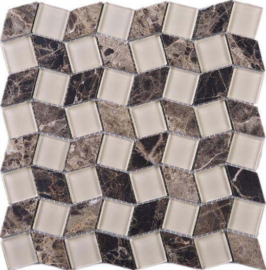 Geometry Diamond Shape Emperador and Beige Glass Mosaic Tile Polished JGY2