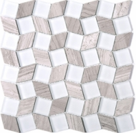 Geometry Diamond Shape Brown Stone and White Glass Mosaic Tile Polished JGY3