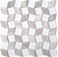 Geometry Diamond Shape Brown Stone and White Glass Mosaic Tile Polished JGY3