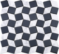 Geometry Diamond Shape White Carrara and Black Glass Mosaic Tile Polished JGY4
