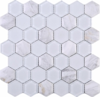 White 3D Hexagon Glass Mosaic Tile JH3D1