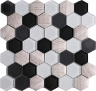 Wooden Grey and Black 3D Hexagon Glass Mosaic Tile JH3D2