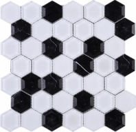 Black and White 3D Hexagon Glass Mosaic Tile JH3D3