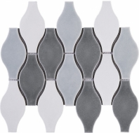 Handmade Blue Grey Bowling Shape Polished Ceramic Mosaic Tile JHMA2