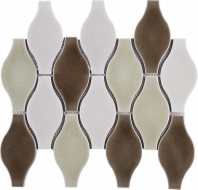 Handmade Brown Bowling Shape Polished Ceramic Mosaic Tile JHMA3