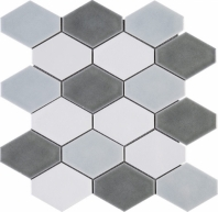 Handmade Blue Grey Diamond Shape Polished Ceramic Mosaic Tile JHMA8