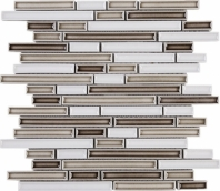 Handmade Brown and White Interlocking Mosaic Tile Polished Ceramic JHMA1