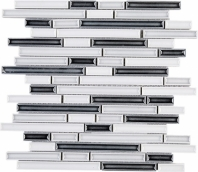 Handmade Grey and White Interlocking Mosaic Tile Polished Ceramic JHMA11