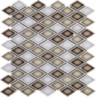 Handmade Brown and White Diamond Ceramic Mosaic Tile Polished JHMA12